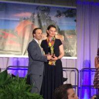 Kate Melcher receiving Vet of the Year award