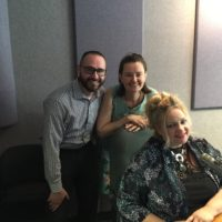 Buddy-to-Buddy's Adam Jando and Kate Melcher with radio host Lucy Ann Lance