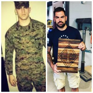 Two photos of Marine Corps veteran Dan Patrick; One from him in uniform in the mid-200s, the other of Patrick more recently