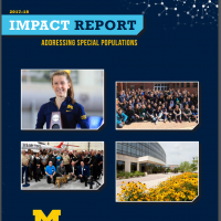 Graphic of the cover page of the Depression Center's Impact Report, featuring group photos of program participants