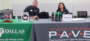 Picture of two student veterans and Peer Advisors at University of Texas at Dallas