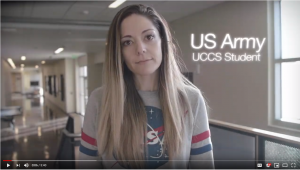 Still image from video: Picture of a female student veteran at University of Colorado Colorado Springs