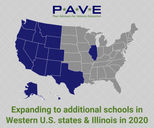 U.S. map showing states PAVE is recruiting new partner campuses in 2020 for an expansion at no cost to the selected schools