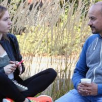 Photo of University of Oregon Peer Advisors Caitlyn Sweat and Israel Garcia