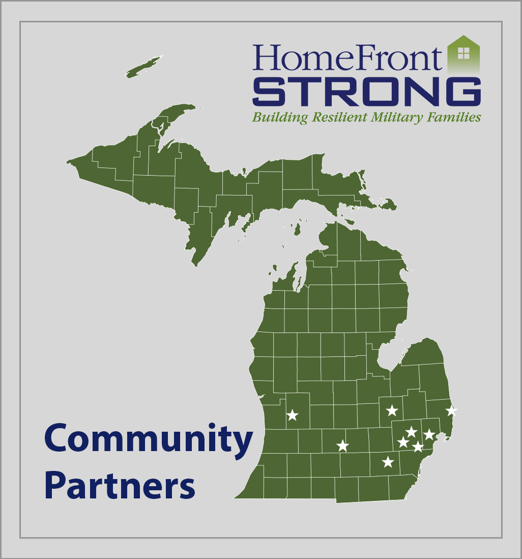 Image of the map of Michigan with stars on it indicating sites around the state where the HomeFront Strong program has been delivered