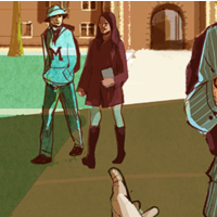Illustration of college students on a college campus