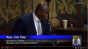 Still photo of Rep. Joe Tate proclaiming June Buddy-to-Buddy Month in the Michigan House of Representatives