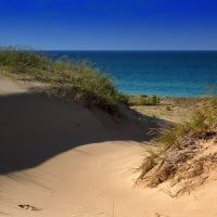 A photo of sand dunes overlooking late Michigan in late summer