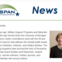 "Screen shot of the top portion of the M-SPAN newsletter, including the M-SPAN logo, the word ""News"", and a photo of M-SPAN director Jane Spinner"