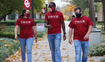 Three student veterans walking together